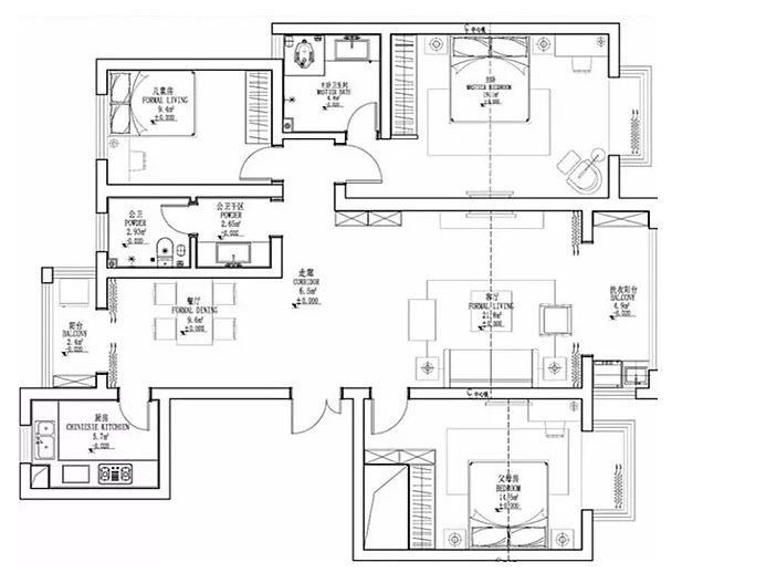 142㎡现代港式,餐厅与卧室的背景墙,简单却不一样!