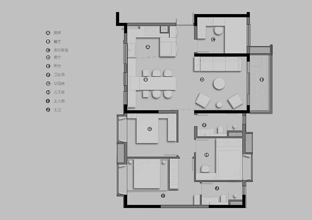 126平三居室装修,简约风格让人眼前一亮!