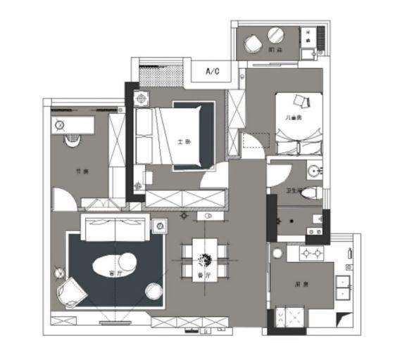102平的混搭风三居室,这样的客厅设计可真有个性