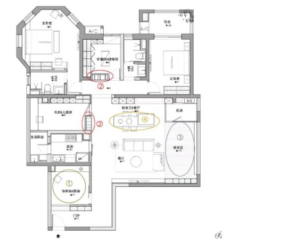 165平的现代简约风大宅,客餐厅的设计宽敞而又大气